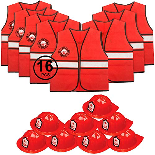 Tigerdoe Fireman Party Hats - Firefighter Hats and Vests - Fireman Themed Party - Fireman Birthday Party Supplies (8 Fireman Hats & 8 Fireman Vests) for $<!--$23.99-->