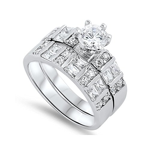 - Sterling Silver Cubic Zirconia Majestic Wedding Ring Set, 7mm