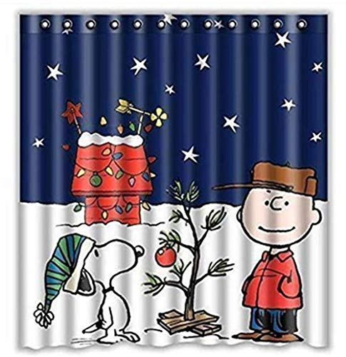 - Charlie Brown & Snoopy Print Shower Curtain 66x72inch, Bathroom Shower Curtain, Waterproof Shower Curtain with 10 Hooks