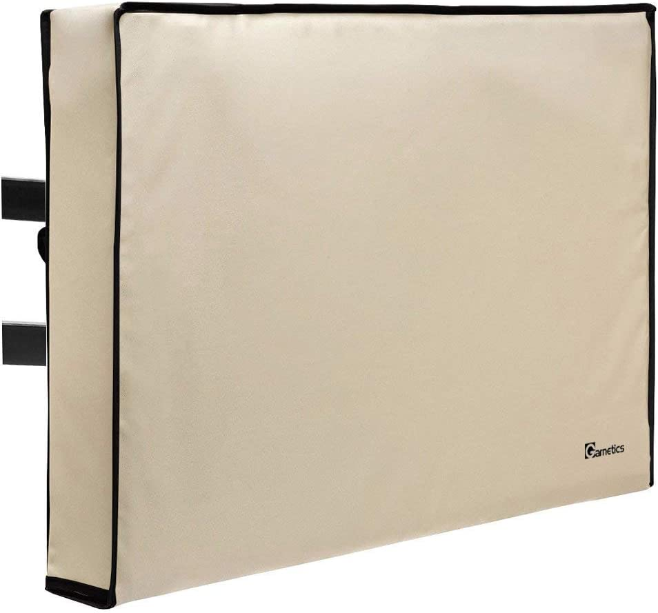 "Outdoor TV Cover 52""-55"" inch - Universal Weatherproof Protector for Flat Screen TVs - Fits Most TV Mounts and Stands - Beige"