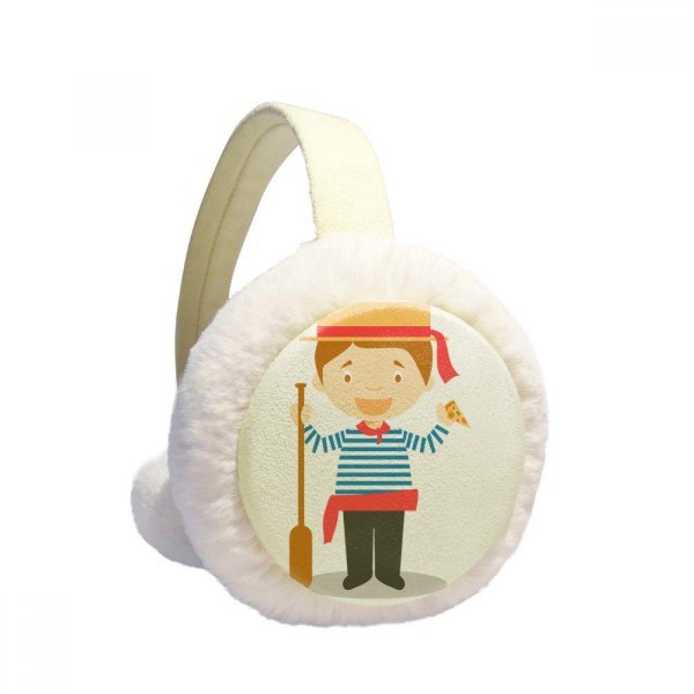 Blue White Stripe Italy Cartoon Winter Earmuffs Ear Warmers Faux Fur Foldable Plush Outdoor Gift
