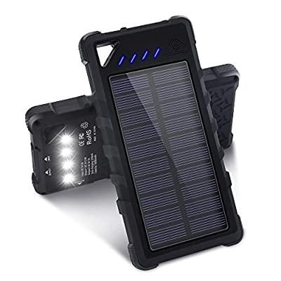 Solar Charger, 16000mAh Dual USB Portable Solar Power Bank with IPX7 Waterproof Function, External Solar Panel Battery Pack with 4 LED Flashlights for Your Smartphones and Other Devices