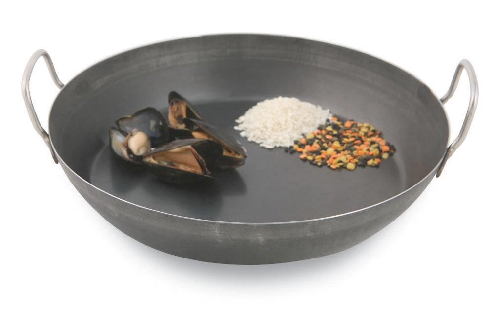 World Cuisine 12 1/2 Inch Black Steel Paella Pan