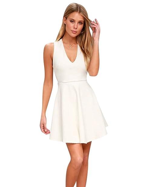 YiiJee Mujer Vestido de Noche Cuello en V Vestidos Color Puro Ocio Vestidos de Fiesta Blanco