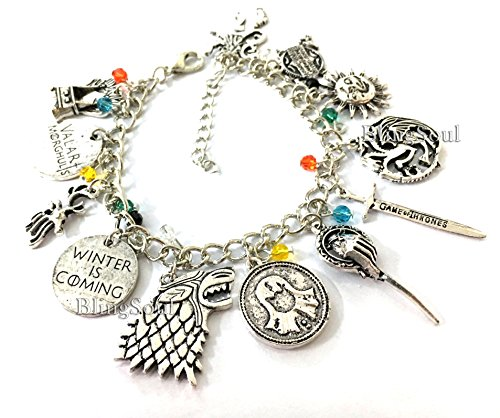 Game of Thrones 12 Themed Charm Bracelet Jewelry Ideal Gift