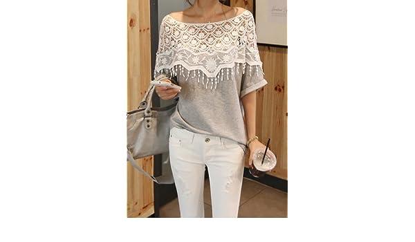 9698341b294664 Amazon.com: Lace Cutout Shirt Women Handmade Crochet Cape Collar Batwing  Sleeve T-shirt: Health & Personal Care