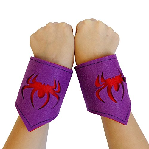 Marvel Spider Girl Toddler Costume (So Sydney Superhero or Princess WRIST BANDS Kids Childrens Toddler, Boy, Girl (Spidergirl - Purple & Pink))