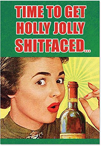12 'Holly Jolly Sh-tfaced' Christmas Cards with Envelopes 4.63 x 6.75 inch, Hilarious Boozy Christmas Cards, Funny Alcoholic Christmas Notes, Silly Christmas Stationery B6493 -