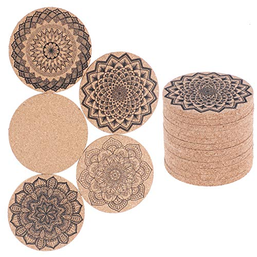 LOCOLO 15 Pieces Round Cork Coasters - MANDALA designs, 4 Inches Perfect for Most Glasses 0.2