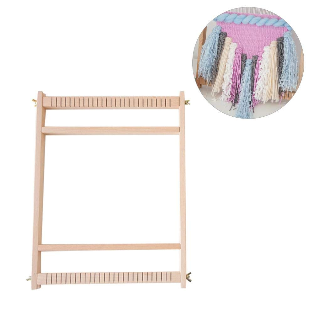 Lorchwise DIY Multifunctional Wooden Weaving Loom Kit - Looms Frame/Shuttle/Spool/Wooden Rod/Wooden Comb/Large Long Needle/Small Long Needle