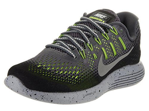 NIKE Women's Lunarglide 8 Shield Dark Grey/Metallic Silver Running Shoe 8 Women US