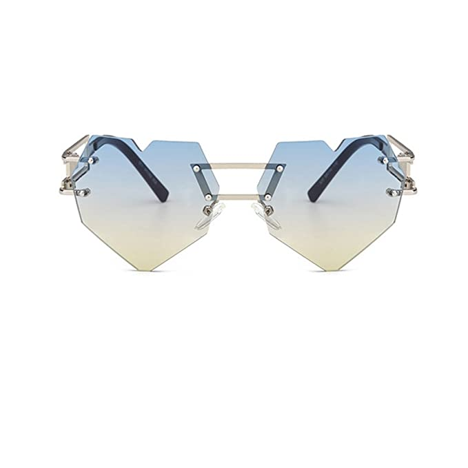 3bdc446ada8 Amazon.com  8 Bit Novelty Heart Shape Laser Cut Mirrored Flat Lens  Sunglasses  Clothing