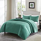 Comfort Spaces - Kienna Quilt Mini Set - 2 Piece - Teal - Stitched Quilt Pattern - Twin/Twin XL size, includes 1 Quilt, 1 Sham