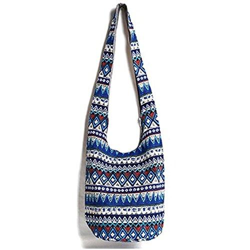 KARRESLY Bohemian Cotton Hippie Shoulder Bag Thai Top Zip Sling Crossbody Bag Hobo Bag Handmade Messenger Purse (Blue-new)