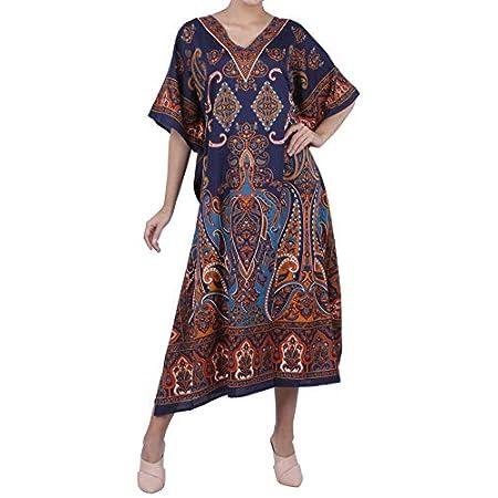 Miss Lavish London Women Kaftan Tunic Kimono Free Size Long Maxi Party Dress for Loungewear Holidays Nightwear Beach Everyday Cover Up 510kR0kkaaL