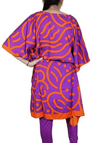 Femmes rayonne top robe courte caftan bikini couvrir robe d'été indien tunique