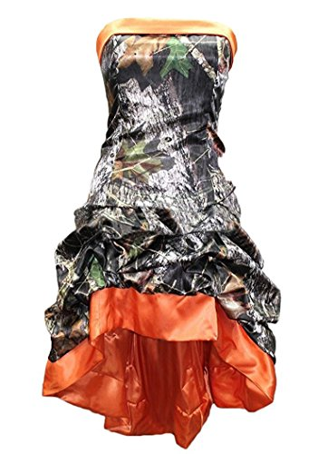 Snowskite Womens Strapless Short High Low Camo Cocktail Party Prom Dress Orange 18 by Snowskite
