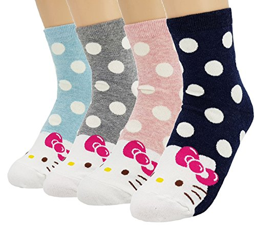 - JJMax Women's Hello Kitty Cute Cotton Blend Ankle Socks Set, Polka Dot Crew Socks, One Size