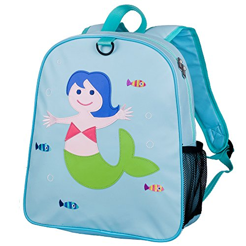 Wildkin Embroidered Backpack, Features Appliqued Design and Adjustable Straps, Perfect for Preschool, Daycare, and Day Trips, Olive Kids Design – Mermaid
