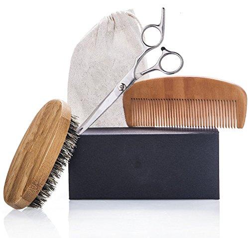 Beard Grooming & Trimming Kit for Men Care – Beard Brush, Beard Comb, Barber Scissors for Beard & Mustache Styling, Shaping & Growth Gift set