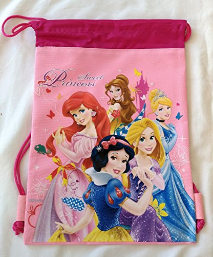 Disney Sweet Princess Drawstring Backpack Pink Princesses Licensed Girl's Sling Tote Gym Bag (Pink)