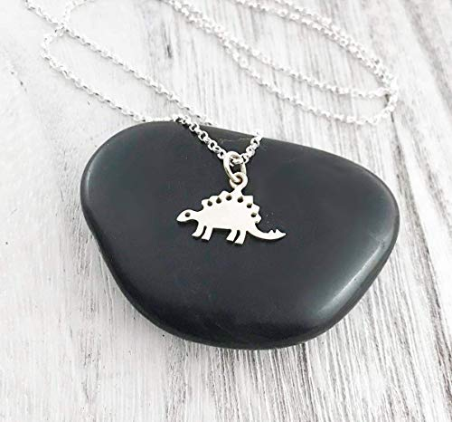 Stegosaurus Dinosaur Necklace - Sterling Silver - Friendship Necklace - Gift for ()