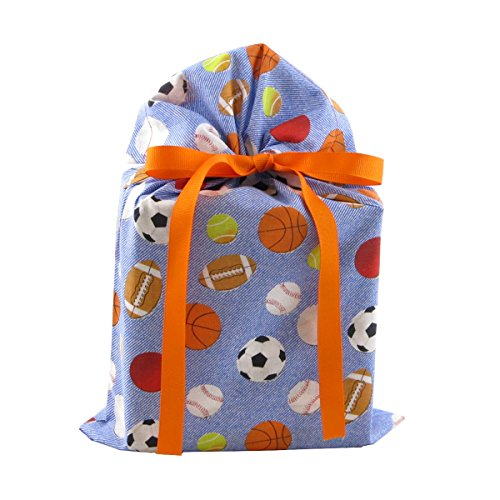 Sports on Blue Reusable Fabric Gift Bag (Standard 10 Inches Wide by 15 Inches High) ()