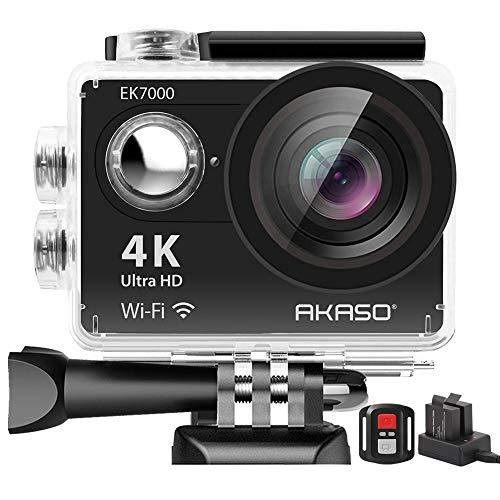 AKASO EK7000 4K WiFi Action Camera Ultra HD 30m Underwater Waterproof Camera Remote Control Underwater Camcorder with 2 Batteries and Helmet Accessories Kit (2019 Version) from AKASO