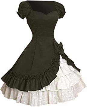 Womens Classic Vintage Lolita Drapery Dress Medieval Frill Frock Cosplay Costume