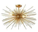 27 Inch Astra Sputnik Semi Flush Mount Lamp Gold Spike Starburst Light Mid Century