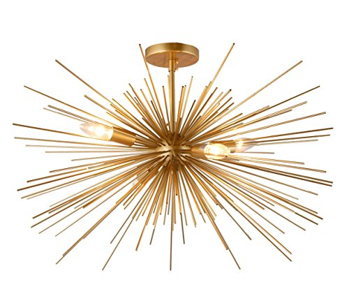Starburst Light Fixture - 27 Inch Astra Sputnik Semi Flush Mount Lamp Gold Spike Starburst Light Mid Century