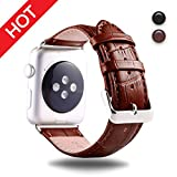 Premium Leather Watch Strap Brown 42mm Replacement Watch Strap with Comfortable Durable Stainless Metal Clasp Classic Buckle Wrist Watch Strap For apple watch by IDEAPLUS
