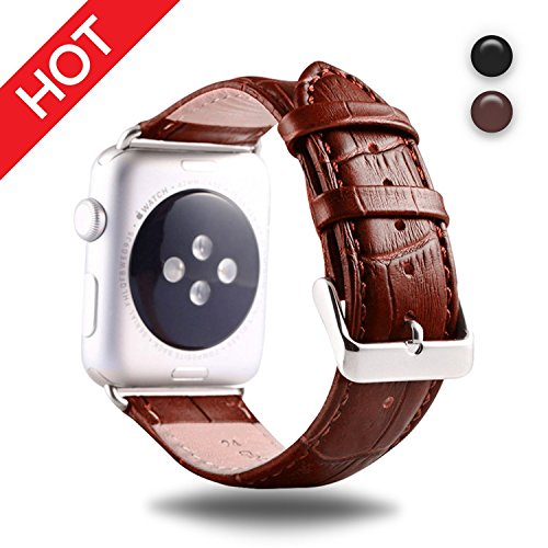 Premium Leather Watch Strap Brown 42mm Replacement Watch Strap with Comfortable Durable Stainless Metal Clasp Classic Buckle Wrist Watch Strap For apple watch by IDEAPLUS by IDEAPLUS