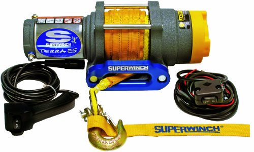 (Superwinch 1125230 Terra 25 2500lb/1134kg single line pull with hawse, handlebar mnt toggle, handheld remote, and synthetic rope)