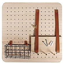 Rayher 62878000 Pin&Peg Starter Set 40 x 40 x 2,5 cm, Incluye Accesorios, Sistema de Orden, Pared Perforada, estantería de Madera, Estante de Pared con estantes, Cesta de Alambre y Ganchos