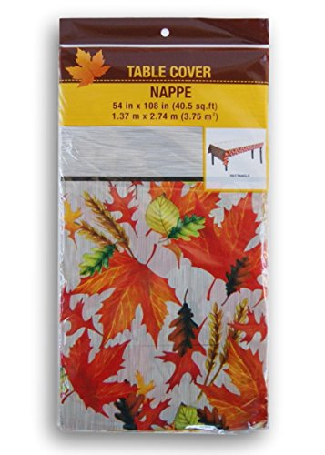Greenbrier Autumn Harvest Plastic Tablecover 54 x 108 Inches Leaves