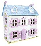 Beautiful Large Pink Children's Kids Wooden Alpine Dollhouse with Furniture and Set of Dolls, Toy Dollhouse for Boys Girls