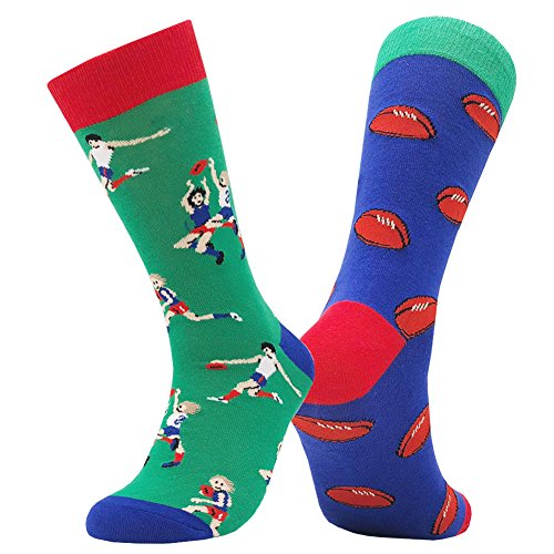 Mens Casual Crew Socks, KoolHour Luxury Fun Cool Crazy Novelty Sports Rugby Fashion Design Cotton Warm Tube Colorful Mismatched Dress Socks,Gift Idea for Men Women,1 Pair