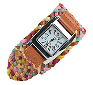Newstylee Candy Color Braided Plaited Rope Strap Wrap Lady Wrist Watch (Brown)