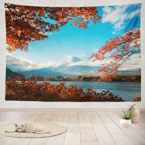 ASOCO Tapestry Wall Handing Colorful Autumn Japan Lake Best Japan Scenery Maple Leaves Color Leaves Wall Tapestry for Bedroom Living Room Tablecloth Dorm 60X80 Inches (Best Scenery For Bedroom)
