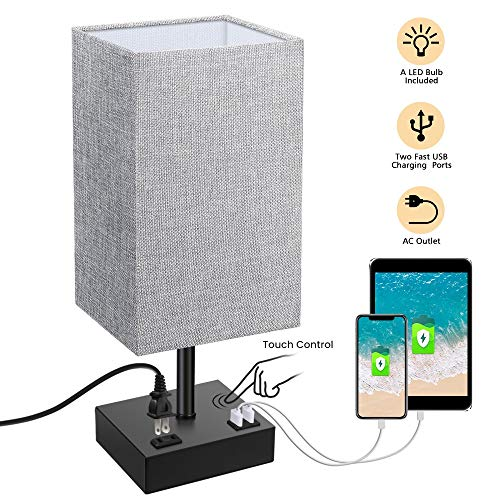 Touch Control Table Lamp, SOLMORE 3 Way Dimmable Bedside ...