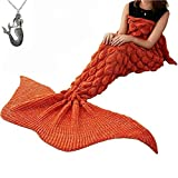 CZL Christmas Gift Knitted Mermaid Tail Blankets for Adults Teens Sleeping Bags Crochet Blanket Super Soft Sleeping Blankets (71''x32'', Orange)