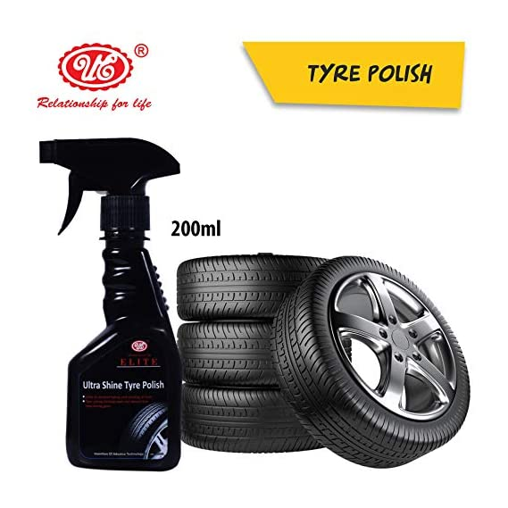 UE Elite Ultra Shine Tyre Polish to Shine Black Look, Dry to Touch, Zero dust Attraction & Spotless -200 ml Car Care/Car Accessories/Automotive Products