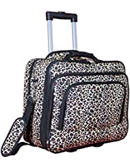 World Traveler Womens Fashion Print Rolling 17 Case Laptop Bag, Leopard, One Size