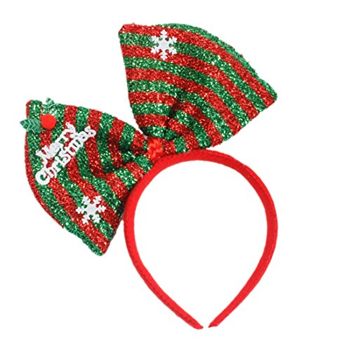 Hair Hoop Xmas Hair Accessory Headwear Colorful Bow Headband Christmas Holiday Party Supplies Gifts (Green) -