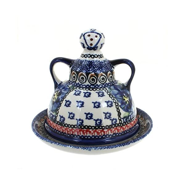 Blue Rose Polish Pottery Blue Art Small Cheese Lady