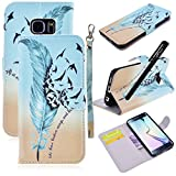 Galaxy S6 Edge Case, WeLoveCase PU Leather Color Print Folio Cover with Wallet Function / Kickstand / Wrist Strap Design / Credit Card Holder for Samsung S6 Edge * One Stylus Pen - Feather Bird
