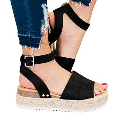 a4d2aca98492f Blivener Womens Casual Espadrilles Sandals Buckle Ankle Strap Open Toe  Flats Soft Flatform Wedge Shoes
