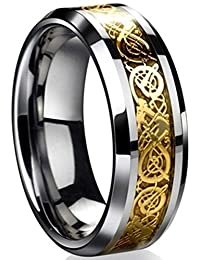Dragon Scale Dragon Pattern Beveled Edges Celtic Rings Jewelry Wedding Band for Men Women Size 5-14