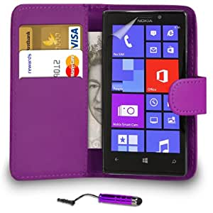 DMA Nokia Lumia 925 Violeta Cartera de cuero del caso del tirón de la cubierta Pouch + Mini Touch Stylus Pen + 2 x Protector de pantalla y paño de pulido